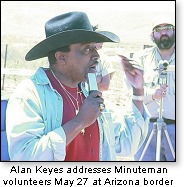 Alan Keyes speaking at Minuteman rally